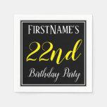 [ Thumbnail: Simple, 22nd Birthday Party W/ Custom Name Napkin ]