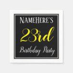 [ Thumbnail: Simple, 23rd Birthday Party W/ Custom Name Napkin ]