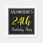 [ Thumbnail: Simple, 24th Birthday Party W/ Custom Name Napkin ]