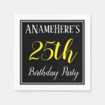 [ Thumbnail: Simple, 25th Birthday Party W/ Custom Name Napkin ]