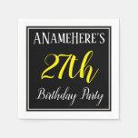 [ Thumbnail: Simple, 27th Birthday Party W/ Custom Name Napkin ]