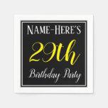 [ Thumbnail: Simple, 29th Birthday Party W/ Custom Name Napkin ]