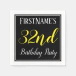 [ Thumbnail: Simple, 32nd Birthday Party W/ Custom Name Napkin ]