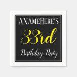 [ Thumbnail: Simple, 33rd Birthday Party W/ Custom Name Napkin ]