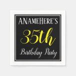 [ Thumbnail: Simple, 35th Birthday Party W/ Custom Name Paper Napkin ]