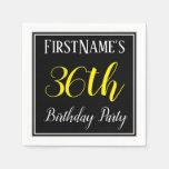 [ Thumbnail: Simple, 36th Birthday Party W/ Custom Name Napkin ]