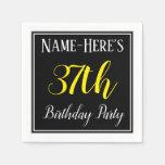 [ Thumbnail: Simple, 37th Birthday Party W/ Custom Name Napkin ]