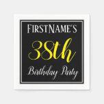 [ Thumbnail: Simple, 38th Birthday Party W/ Custom Name Napkin ]