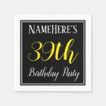 [ Thumbnail: Simple, 39th Birthday Party W/ Custom Name Napkin ]