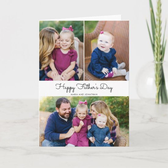 Simple 3 Photo Father's Day Holiday Card