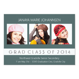 Simple 3 Photo Graduation Any Color Card