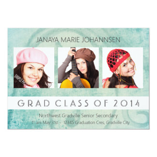 Simple 3 Photo Graduation Pretty Background Card