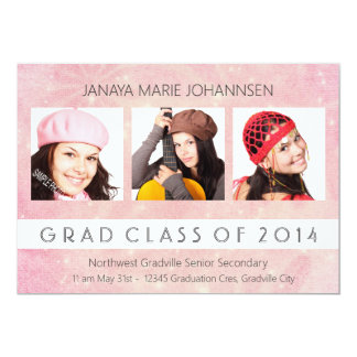 Simple 3 Photo Graduation Pretty Pink Peach Card