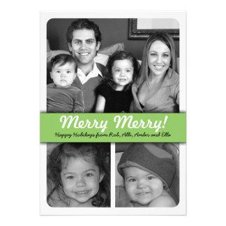 Simple 3-Photo Green and Black Holiday Photo Card Custom Invite