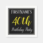 [ Thumbnail: Simple, 40th Birthday Party W/ Custom Name Napkin ]
