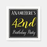 [ Thumbnail: Simple, 42nd Birthday Party W/ Custom Name Napkin ]