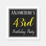 [ Thumbnail: Simple, 43rd Birthday Party W/ Custom Name Napkin ]