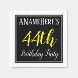 [ Thumbnail: Simple, 44th Birthday Party W/ Custom Name Napkin ]