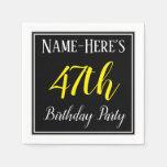 [ Thumbnail: Simple, 47th Birthday Party W/ Custom Name Napkin ]