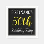[ Thumbnail: Simple, 50th Birthday Party W/ Custom Name Napkin ]