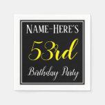 [ Thumbnail: Simple, 53rd Birthday Party W/ Custom Name Napkin ]