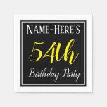 [ Thumbnail: Simple, 54th Birthday Party W/ Custom Name Napkin ]