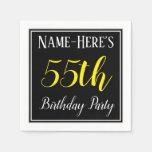 [ Thumbnail: Simple, 55th Birthday Party W/ Custom Name Napkin ]