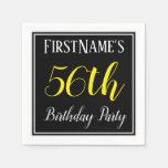 [ Thumbnail: Simple, 56th Birthday Party W/ Custom Name Napkin ]