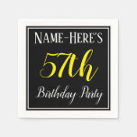 [ Thumbnail: Simple, 57th Birthday Party W/ Custom Name Napkin ]