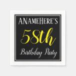 [ Thumbnail: Simple, 58th Birthday Party W/ Custom Name Napkin ]