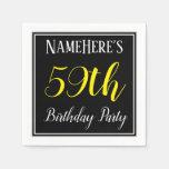 [ Thumbnail: Simple, 59th Birthday Party W/ Custom Name Napkin ]