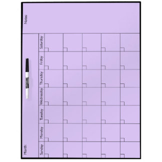 Simple 5W Calendar - Personalize Dry Erase Board