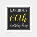 [ Thumbnail: Simple, 60th Birthday Party W/ Custom Name Napkin ]