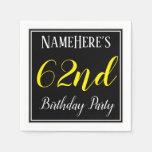[ Thumbnail: Simple, 62nd Birthday Party W/ Custom Name Napkin ]