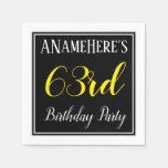 [ Thumbnail: Simple, 63rd Birthday Party W/ Custom Name Napkin ]