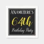 [ Thumbnail: Simple, 64th Birthday Party W/ Custom Name Napkin ]