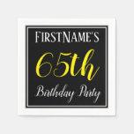 [ Thumbnail: Simple, 65th Birthday Party W/ Custom Name Napkin ]