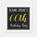 [ Thumbnail: Simple, 66th Birthday Party W/ Custom Name Paper Napkin ]