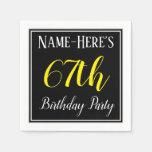 [ Thumbnail: Simple, 67th Birthday Party W/ Custom Name Napkin ]