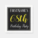 [ Thumbnail: Simple, 68th Birthday Party W/ Custom Name Napkin ]