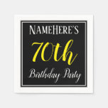 [ Thumbnail: Simple, 70th Birthday Party W/ Custom Name Paper Napkin ]