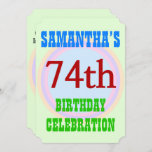"[ Thumbnail: Simple ""74th Birthday Celebration"" Invitation ]"