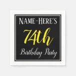 [ Thumbnail: Simple, 74th Birthday Party W/ Custom Name Paper Napkin ]