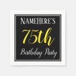 [ Thumbnail: Simple, 75th Birthday Party W/ Custom Name Napkin ]