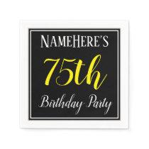 Simple, 75th Birthday Party w/ Custom Name Napkin