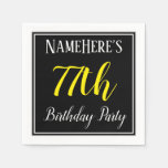[ Thumbnail: Simple, 77th Birthday Party W/ Custom Name Napkin ]
