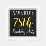 [ Thumbnail: Simple, 78th Birthday Party W/ Custom Name Paper Napkin ]