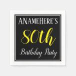 [ Thumbnail: Simple, 80th Birthday Party W/ Custom Name Paper Napkin ]