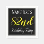 [ Thumbnail: Simple, 82nd Birthday Party W/ Custom Name Paper Napkin ]