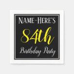 [ Thumbnail: Simple, 84th Birthday Party W/ Custom Name Paper Napkin ]